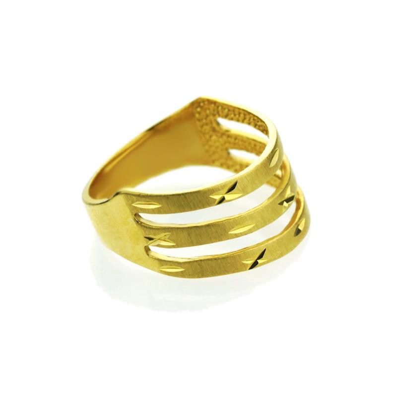 DLNDR010-YG Customizable Women 14K Yellow Gold 4mm Dia Cut Ring Right Hand Band  Gift Box