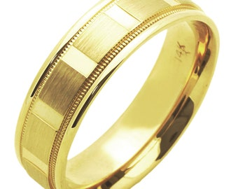 Custom letters engraving available / Men Women 14K Yellow Gold 6mm Dia Cut Patterned Wedding Band Ring / Gift Box(DLN579-302)