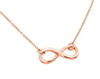 "16+2"" 14K Rose Gold Plated Silver Endless Love Infinity Pendant Necklace(plSTP01373RP)"