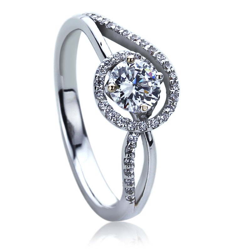 Women 4.5mm 14K White Gold 0.25 ct CZ Classic Solitaire Wedding Engagement Ring