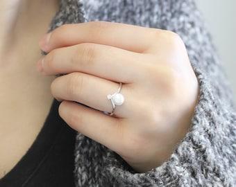 Genuine Pearl Ring, 925 Sterling Silver Ring, Tahitian Black Pearl/Akoya Golden Pearl/Akoya Grey Pearl/Akoya White Pearl/Freshwater Pearl