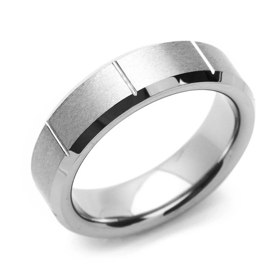 6mm Tungsten Satin Dome Top Grooved Beveled Edge Women/'s Jewelry Wedding Band