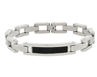 "Men Women 10MM Stainless Surgical Steel Carbon Fiber Inlaid Link Bracelet 8.5""(ct108bss)"