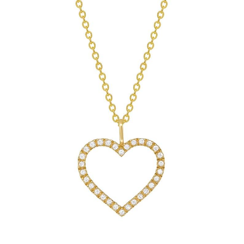 exclude chain GDP516Y Women 14K Gold 0.10 cttw Diamond Heart Pendant