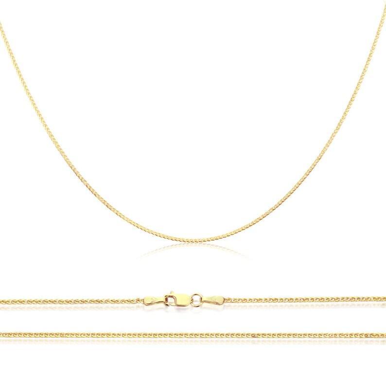 """14K or blanc diamant coupe 2 mm large fantaisie italienne Miroir Lien Chaîne Collier 18/"""""""