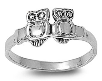 Women Sterling Silver Owls Ring 8mm / Free Gift Box(SNRP140157)