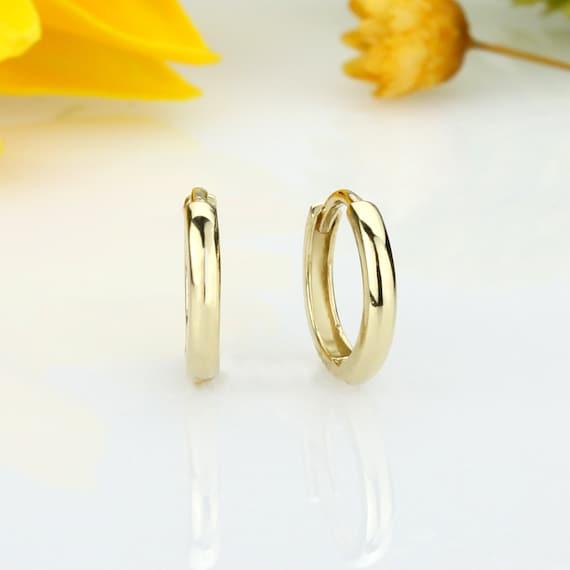 14k White Gold Small Plain Huggies Earrings, 11mm X 11mm