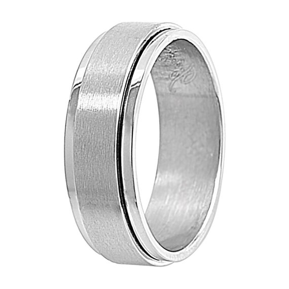 Double Accent Custom Engraving 7MM Comfort Fit Stainless Steel Wedding Band Flat Stripped Wedding Band Promise Ring