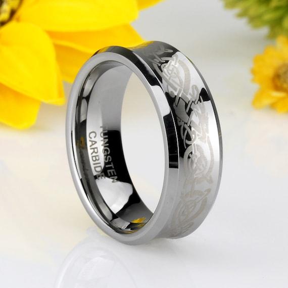 Men 8MM Comfort Fit Tungsten Carbide Wedding Band Celtic Dragon Engraved Ring