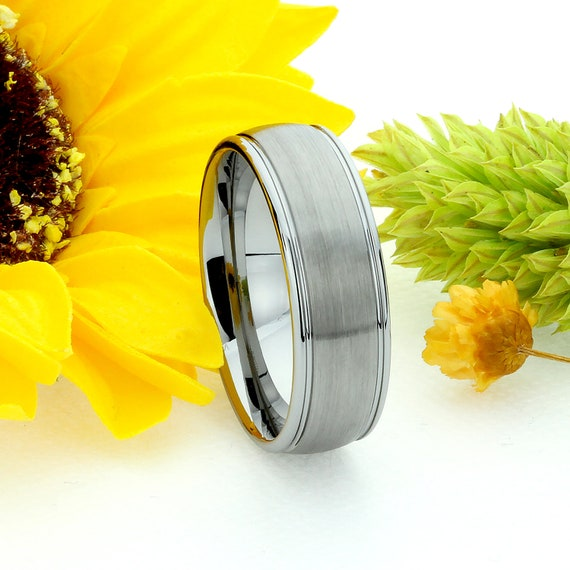 JDTR176-039-OPT Men Women Tungsten Wedding Band 6MM Stepped Edge Domed Brused Center Tungsten Ring For Couples Personalized Ring