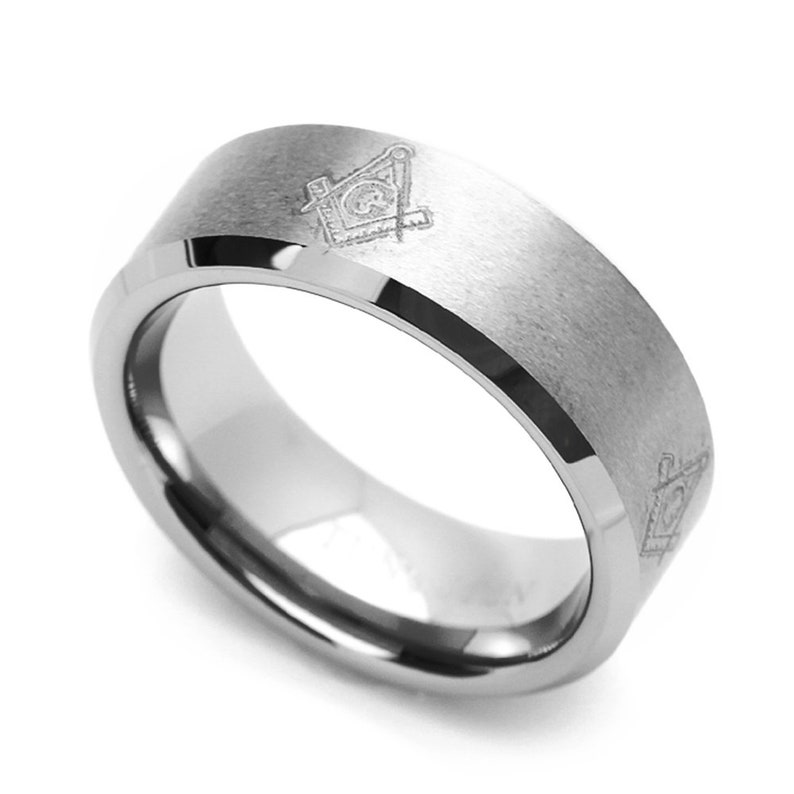 Custom Engraved Personalized Ring CT801RTN Tungsten Wedding Band Men/'s 8MM Masonic Design Engraved Tungsten Ring
