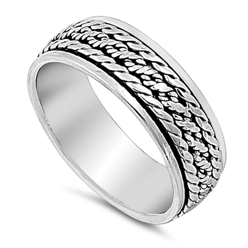 SNRP140877 Custom Engraving Men Women 7mm 925 Sterling Silver Band Braided Design Spinner Ring  Gift Box