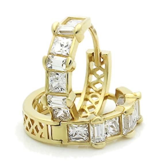 14K Yellow Gold Plain Domed 11 mm Length Baguette CZ Channel Set Huggie Hoop Earrings
