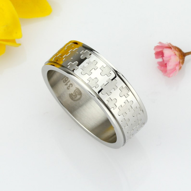 Custom Engraving Men Women Fashion 8MM Stainless Steel Ring Jigsaw Puzzle Patterned Wedding Band Ring DCTRSS028