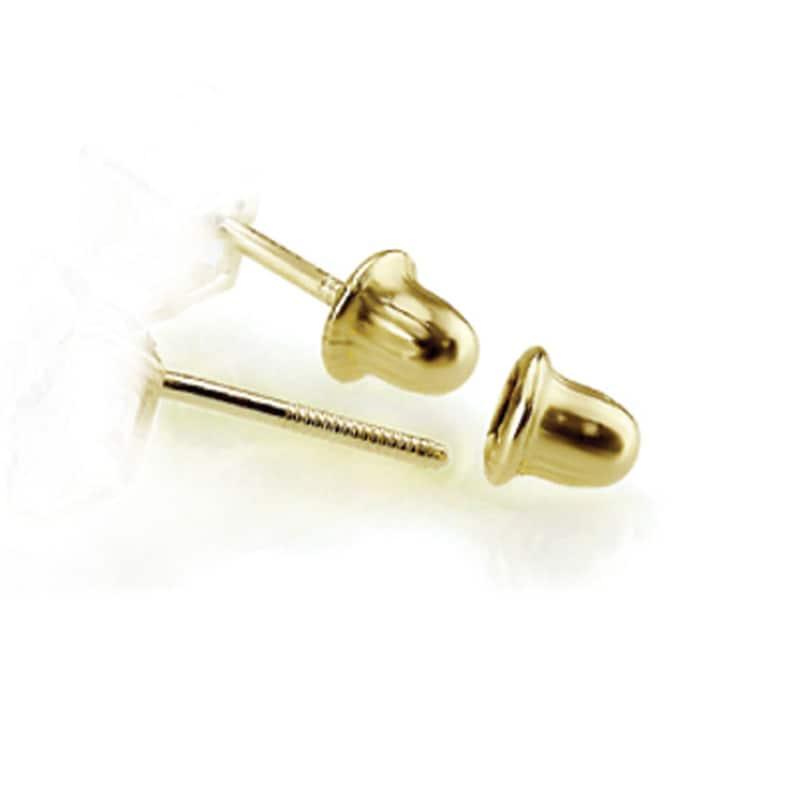 14K Yellow Gold 3mm Green Cubic CZ Prong Set Solitaire Screwback Stud Earrings DJBRD3MM08