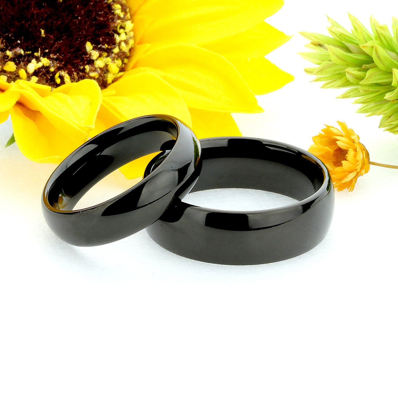 Tungsten Ring Men Women Wedding Band Black Enamel Plated Classic Domed 6mm