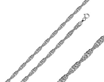 Men Women 2mm Sterling Silver Italian Chain Necklace Polished Singapore Chain(PZSIN-20MM)