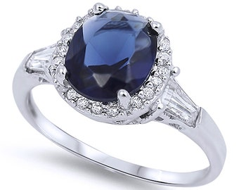 Women Sterling Silver Deep Blue Color CZ Solitaire Engagement Ring 11MM(SNRC105137)