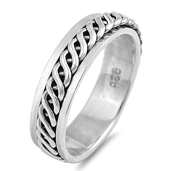 Mens Ladies 925 Sterling silver Celtic Spinner ring 7mm band Gift for him or her