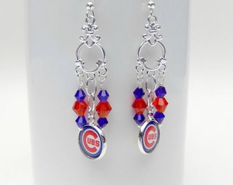 Chicago Cubs Jewelry, Chicago Cubs Earrings, Cubs Accessories, Chicago Cubs, Baseball Mom, Baseball Jewelry, Cubs Fan, Pro Baseball Jewelry