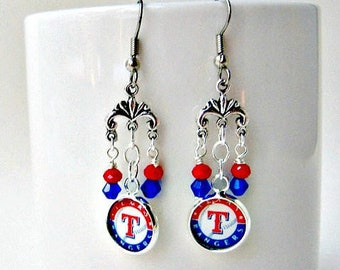Texas Rangers Baseball Earrings, Baseball Earrings, Texas Rangers Earrings, Texas Rangers Jewelry, Rangers Accessories, Rangers Earrings,