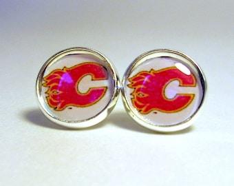 Calgary Flames, Hockey Earrings, Hockey Jewelry, Ice Hockey Post Earrings, Sports Jewelry For Women, Flames Fan Wear, Pro Hockey Team