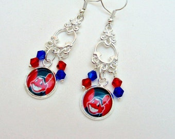 Cleveland Indians Earrings, Cleveland Indians Jewelry, Cleveland Indians Accessories, Baseball Jewelry, Sports Jewelry, Baseball Mom