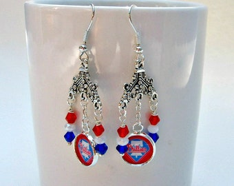 Philadelphia Phillies Earrings, Baseball Jewelry, Philadelphia Phillies Jewelry, Phillies Earrings, Phillies Baseball, Phillies Accessories