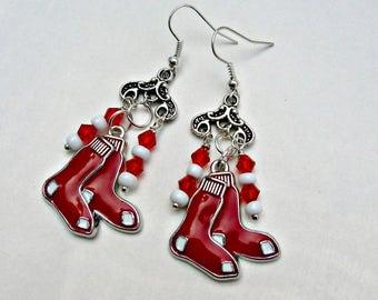 Boston Red Sox Earrings, Boston Red Sox Jewelry, Boston Red Sox Accessories, Baseball Jewelry, Red Sox Jewelry, Baseball Mom, Red Sox Fan