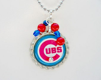 Chicago Cubs Necklace, Chicago Cubs Jewelry, Chicago Cubs Accessories, Baseball Jewelry, Baseball Mom, Baseball Necklace, Sports Jewelry