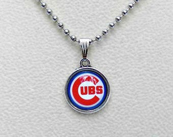 Chicago Cubs Necklace, Baseball Jewelry, Chicago Cubs Jewelry, Baseball Mom, Sports Jewelry, Cubs Jewelry, Cubs Accessories, Cubs Fan Wear