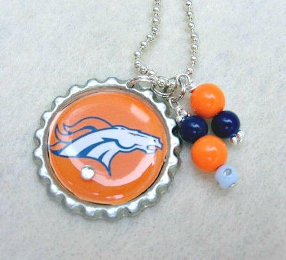 finest selection d590a eff9d Denver Broncos Necklace, Denver Broncos Jewelry, Football Jewelry, Football  Mom, Broncos Fan Wear