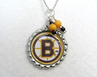 Boston Bruins, Ice Hockey Necklace, Ice Hockey Jewelry, Sports Jewelry, Bruins Jewelry, Bruins Necklace, Gift for Her, Hockey Mom, Hockey