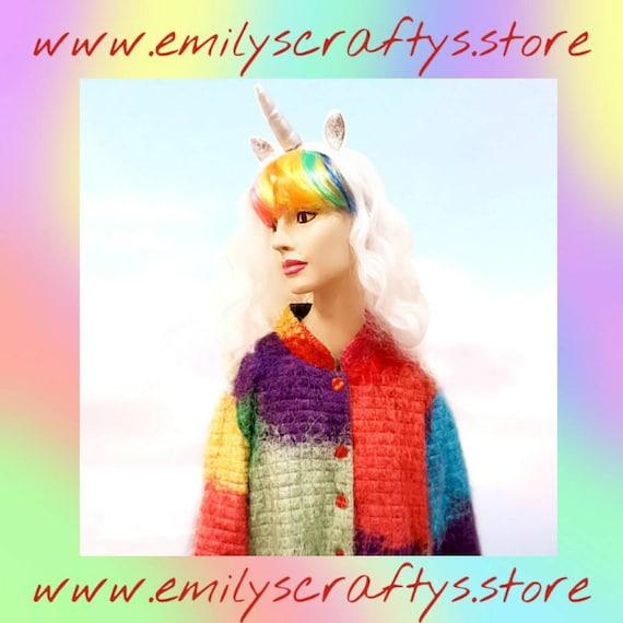 Vintage Furry Rainbow Jacket by Florissant New Yor