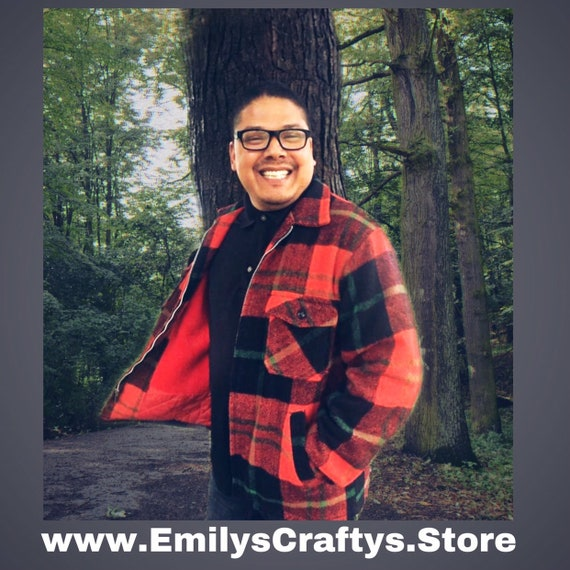 Flash Sale Mid century Red Plaid Flanel Coat by Mo