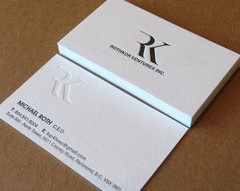 Letterpress business cards etsy letterpress business cards 2 colours blind impression cranes lettra 600gsm 220lb reheart Images