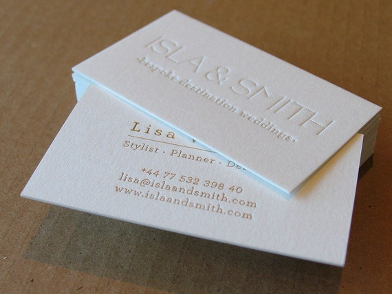 Letterpress business cards 1 letterpress gold foil etsy image 0 colourmoves