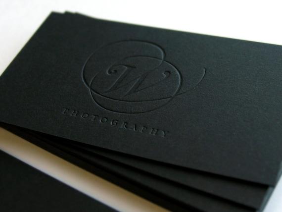 Schwarze Visitenkarten 700gsm 1 Folie Farbe Mit Blinder Impression