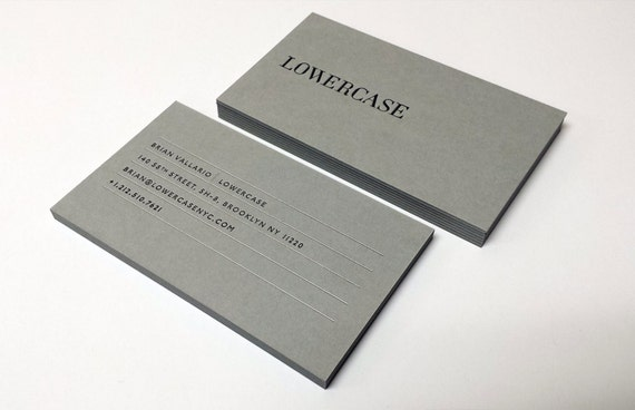 Letterpress business cards 700gsm grey paper etsy image 0 reheart Gallery