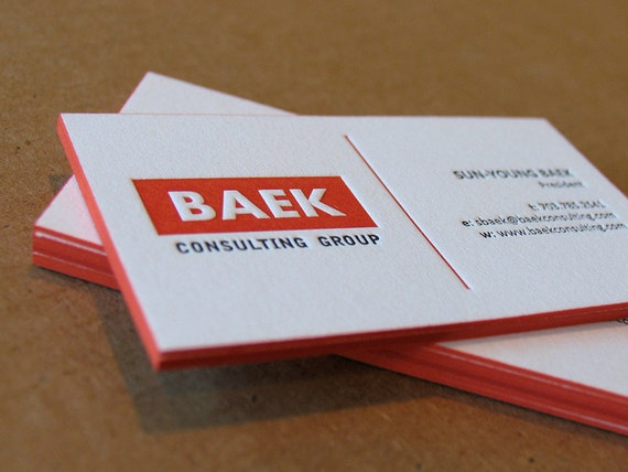 Letterpress business cards 2 colours 1 side color edges etsy image 0 colourmoves