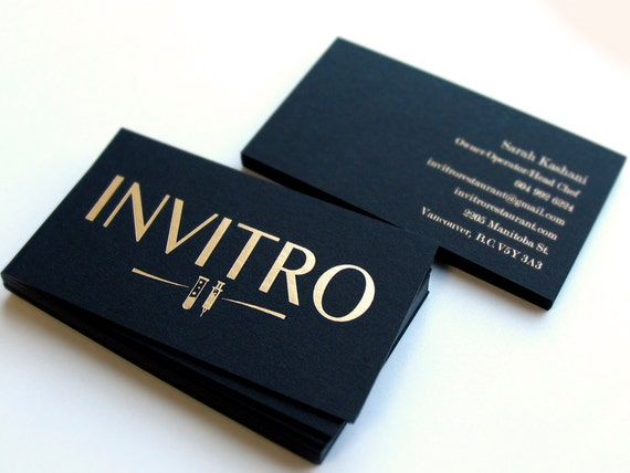Schwarze Visitenkarten 700gsm Folie Auf Doppelseitiger Matte Gold