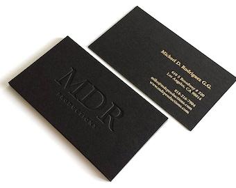 Black Business Cards - 700gsm - 1 Foil color with Blind Impression