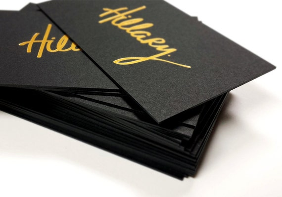 Black business cards 700gsm foil on double sided etsy image 0 colourmoves