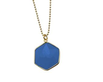 Geometry necklace - 925 silver gold plated, gemstonedark blue quarz hexagonal, you get your length