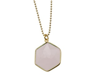 Geometry necklace - 925 silver gold plated, gemstone rosenquarz hexagonal, you get your length