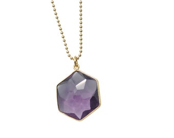 Geometry necklace - 925 silver gold plated, gemstone amethyst, hexagonal, you get your length