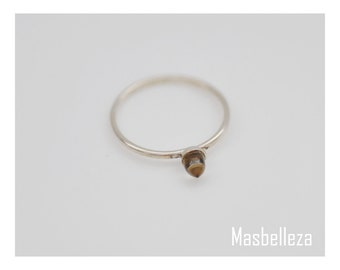 Sterling silver ring - Half-ring band with smokey quarz, smooth and pointed size. 61 inside 19.5 mm