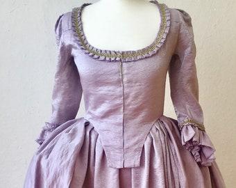 SALE Reproduction 18th Robe à l'Anglaise Rococo gown Marie Antoinette Dress Outlander Clair Paris Baroque vintage ruffles lilac silver gold
