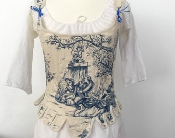 18th Rococo Stays Corset Reed Boned Embroidery Marie - Antoinette Reproduction Duchess
