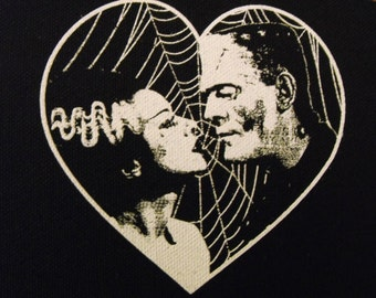 FRANKENSTEIN and BRIDE heart patch goth horror punk Free Shipping